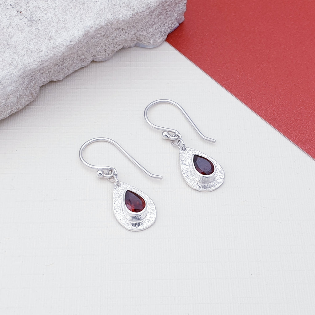 Garnet Hammered Dainty Earrings