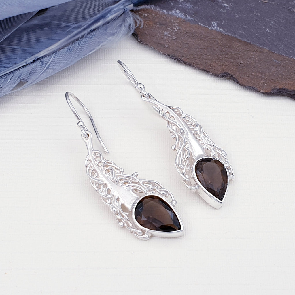 Smoky Quartz Plume Earrings