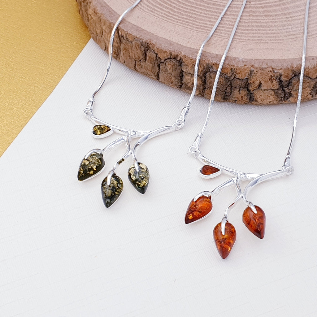 Green or Toffee Amber Leaf Necklace