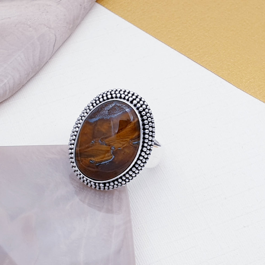 Tiger's Eye Boho Oval Ring