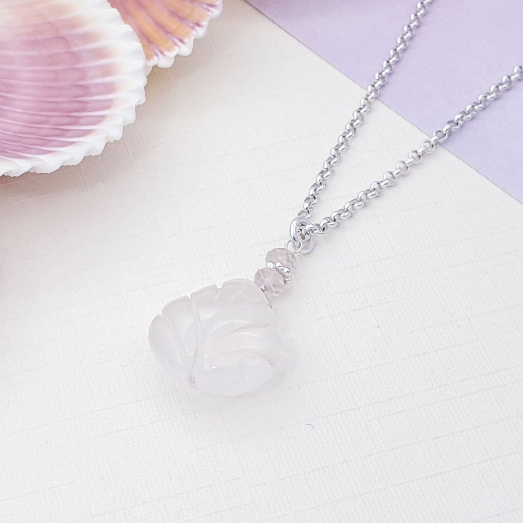 Rose Quartz Leaf Charm