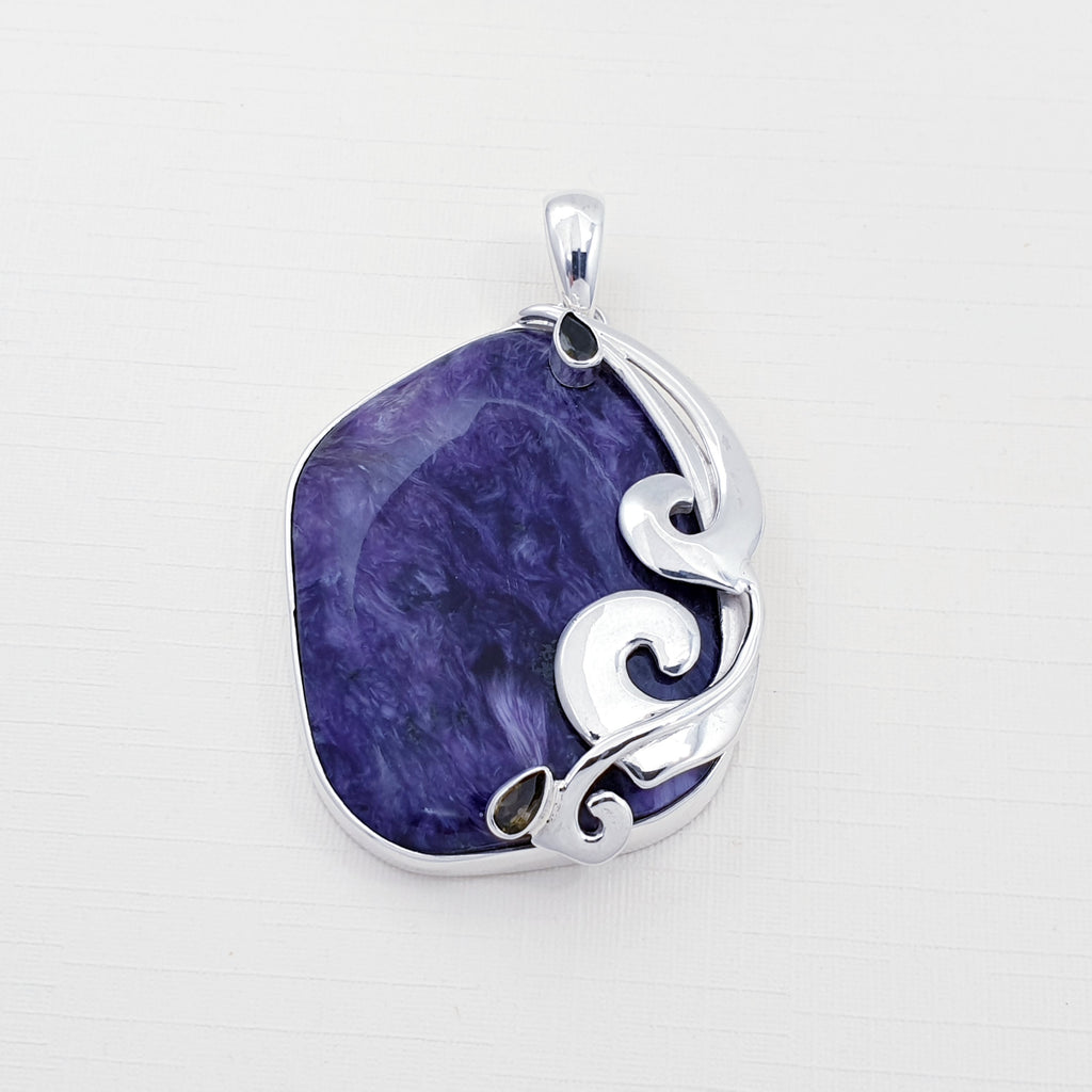 One-off Charoite and Tourmaline Swirl Pendant
