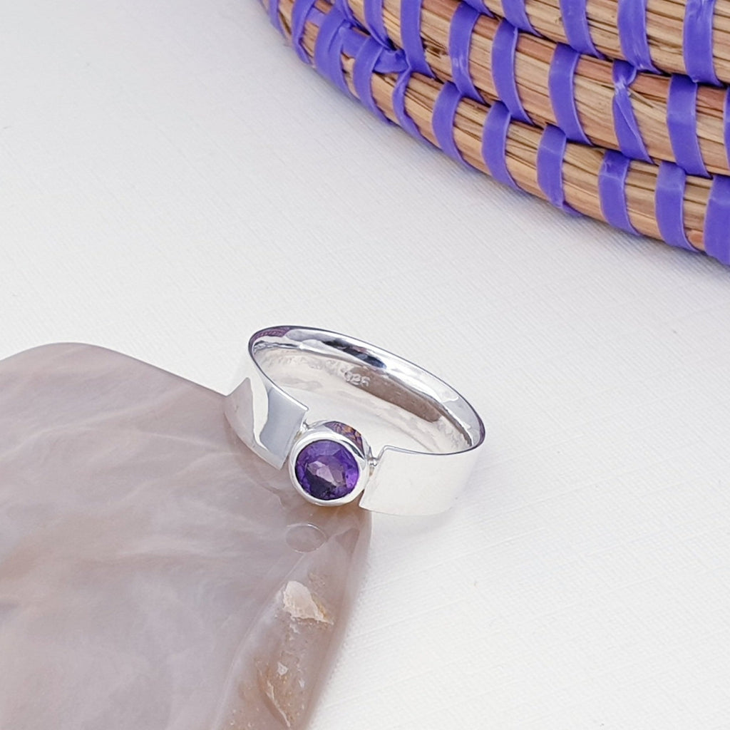 Amethyst Simple Flat Band Ring