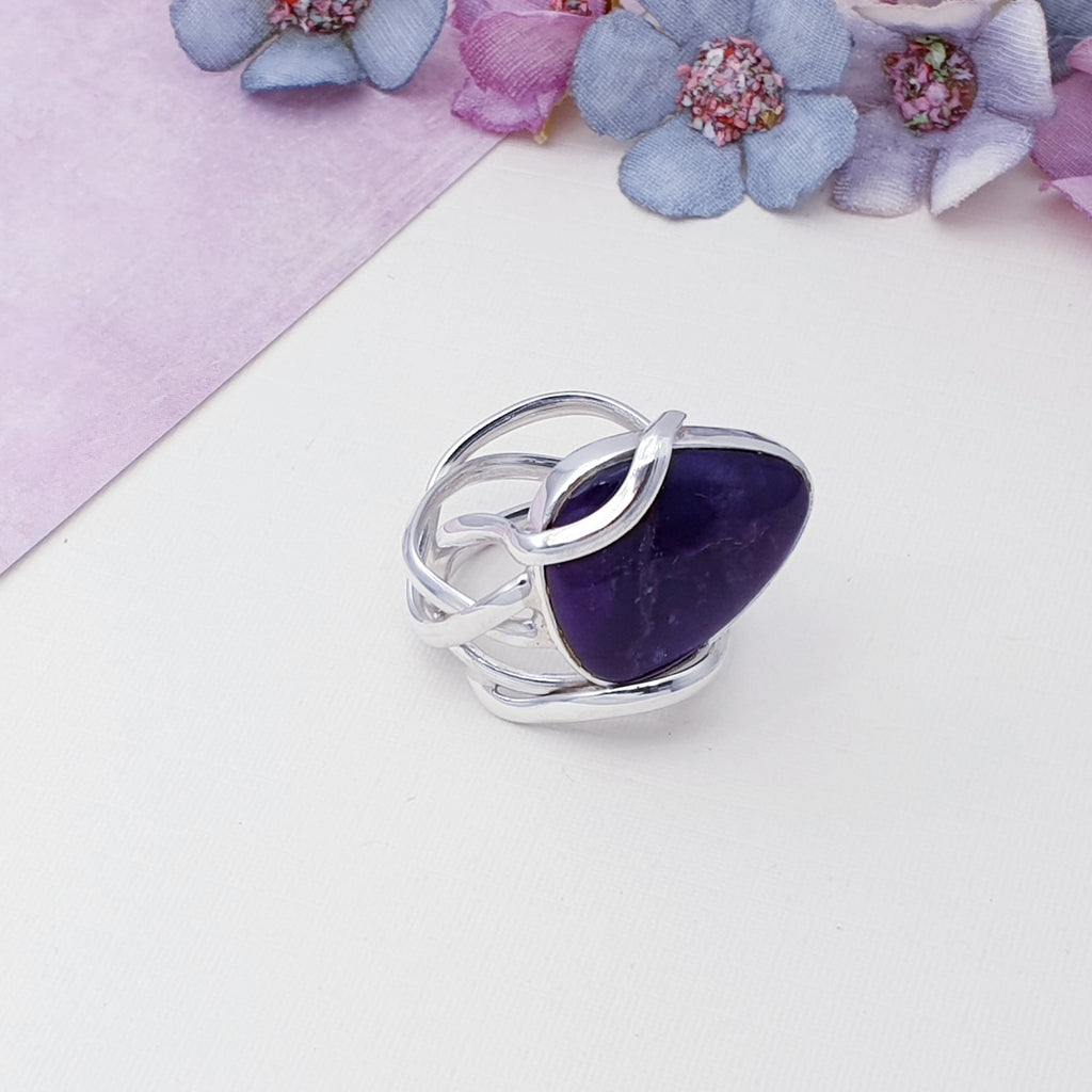 One-off Charoite Vine Ring