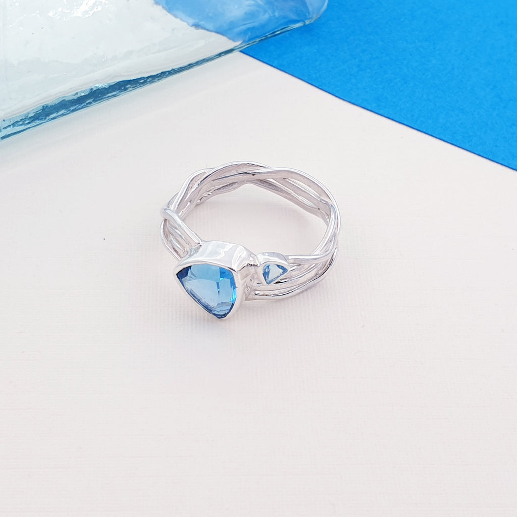 Swiss Blue Topaz Intertwined Vines Ring