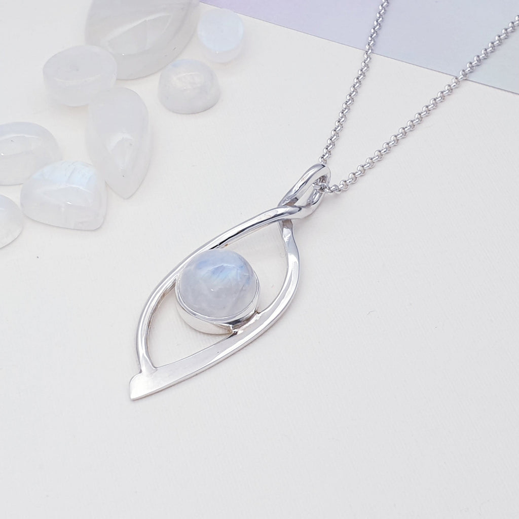 Moonstone Silver Eye Pendant