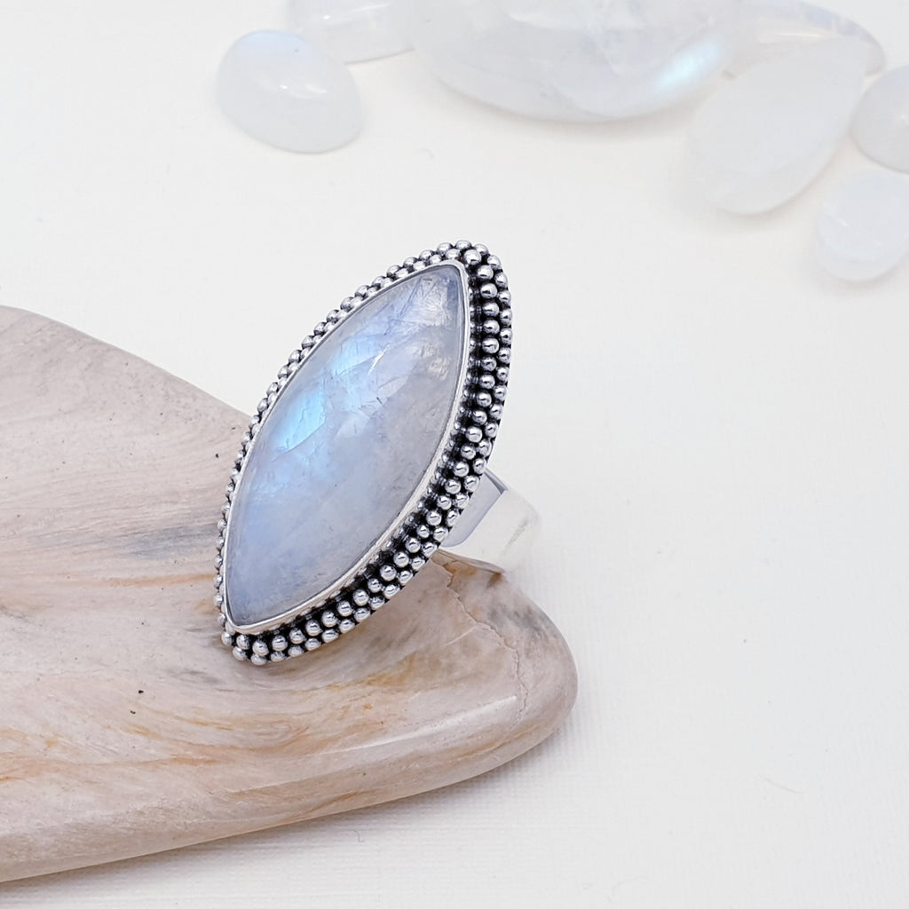 One-off Moonstone Boho Ring