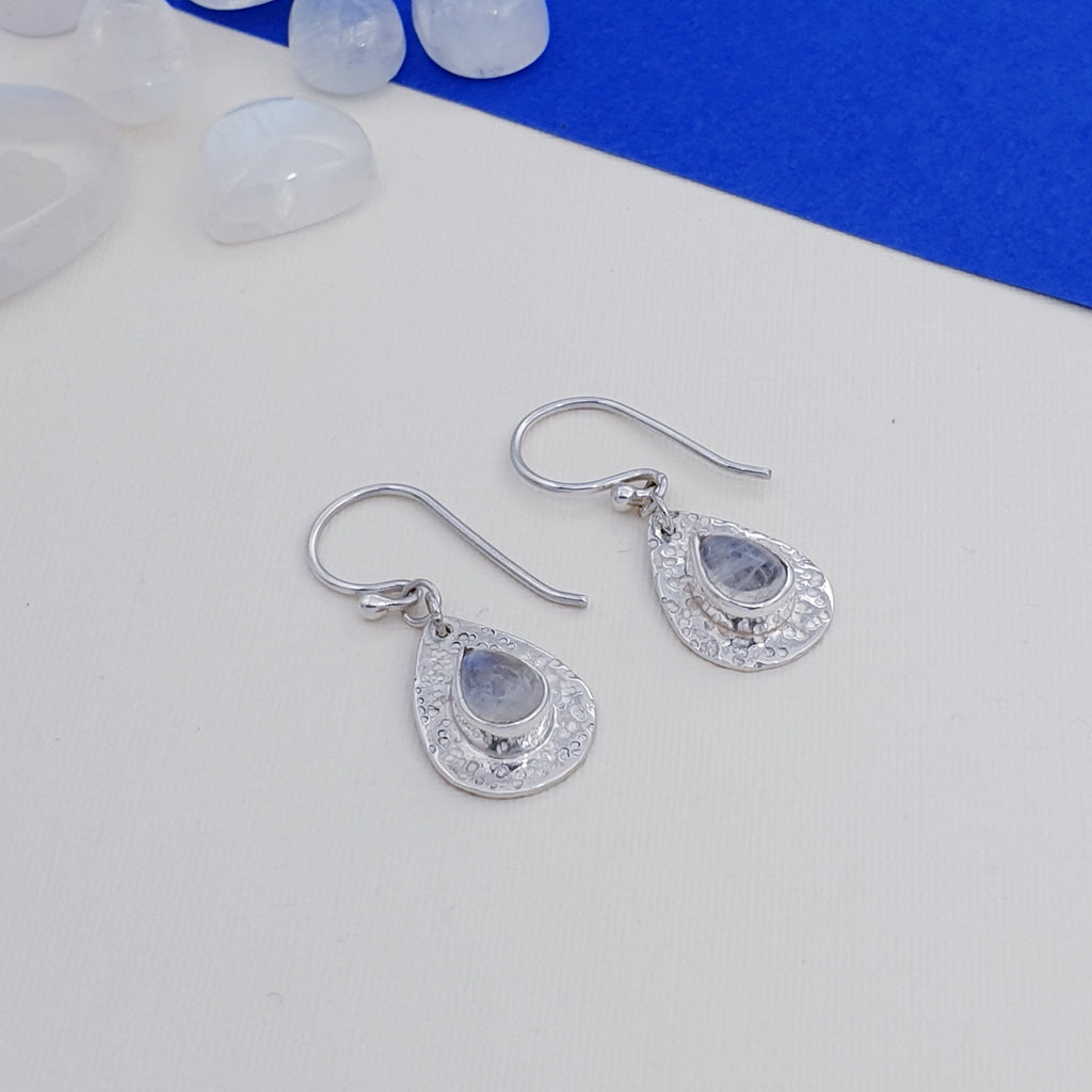 Moonstone Hammered Dainty Earrings