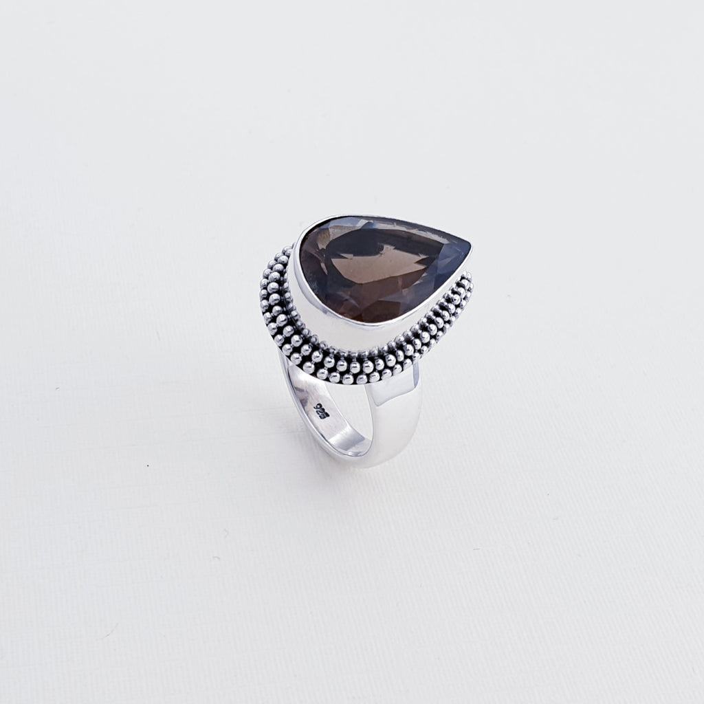 One-off Smoky Quartz Boho Ring - Size P1/2