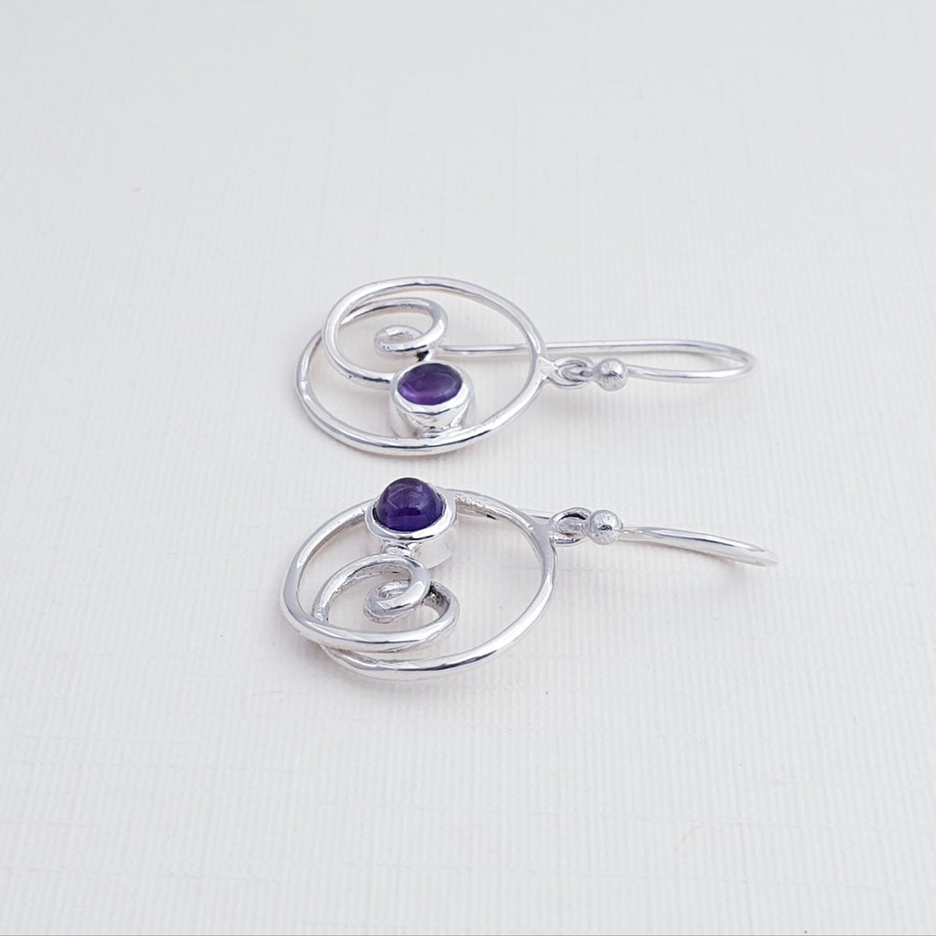 Amethyst Round Swirl Earrings