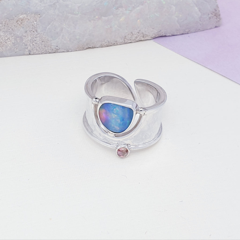 Opal and Pink Tourmaline Wide Band Ring