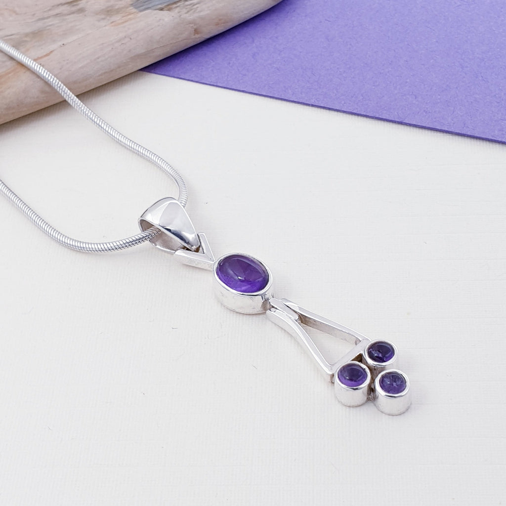 Amethyst Abstract Drop Pendant