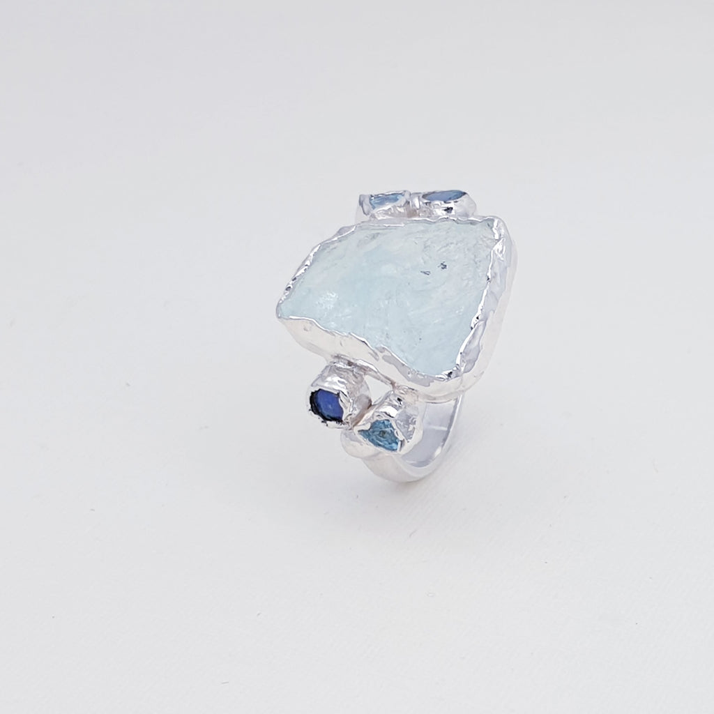 One-off Raw Aquamarine Manaslu Ring - Size R