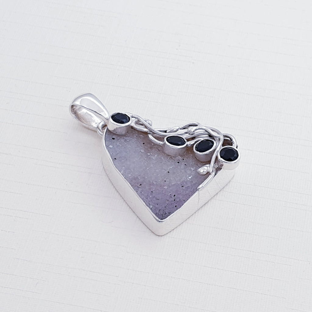 One-off Druzy and Onyx Swirly Vine Pendant