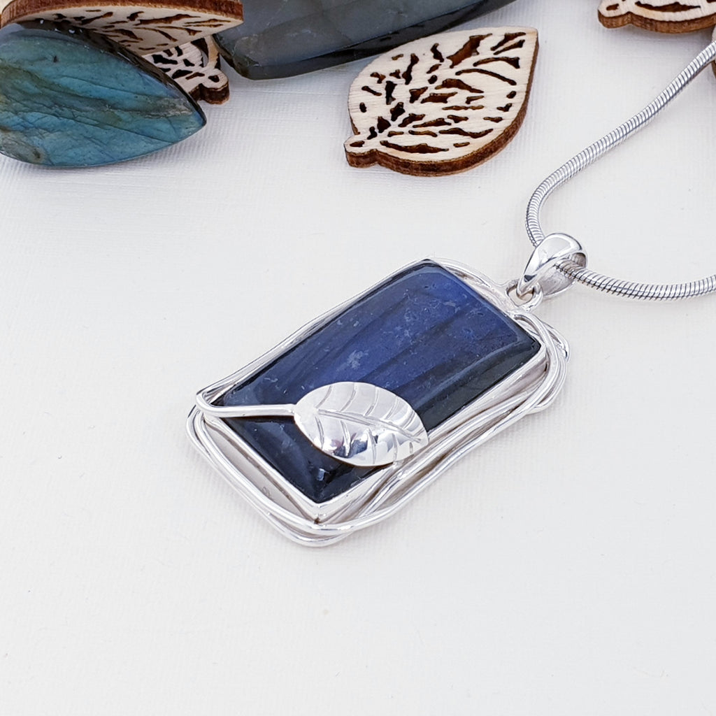 One-off Labradorite Silver Leaf Pendant
