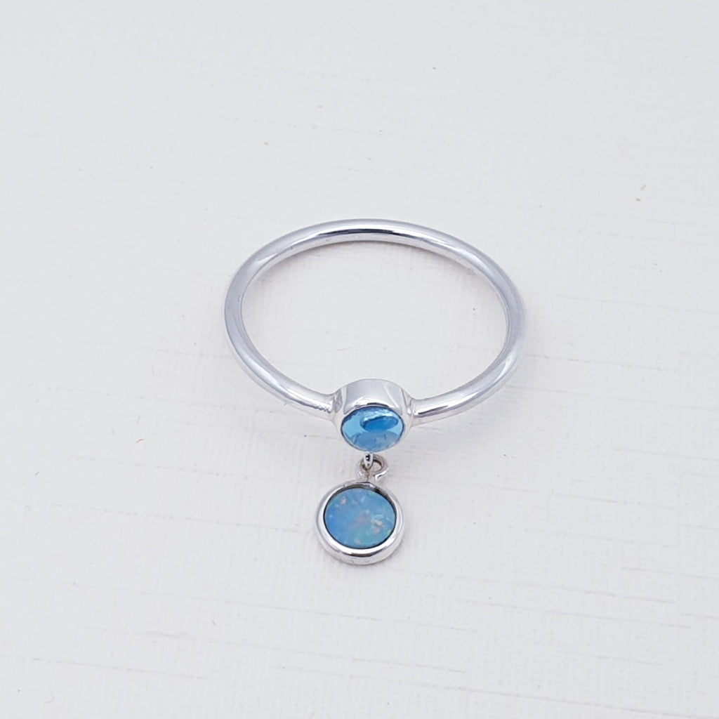 Blue Topaz and Opal Astoria Ring