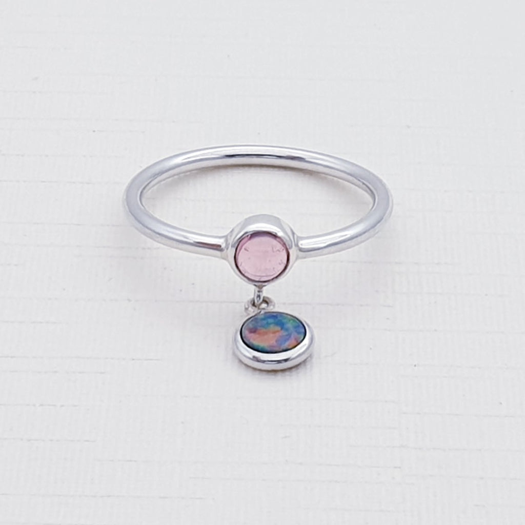 Pink Tourmaline and Opal Astoria Ring