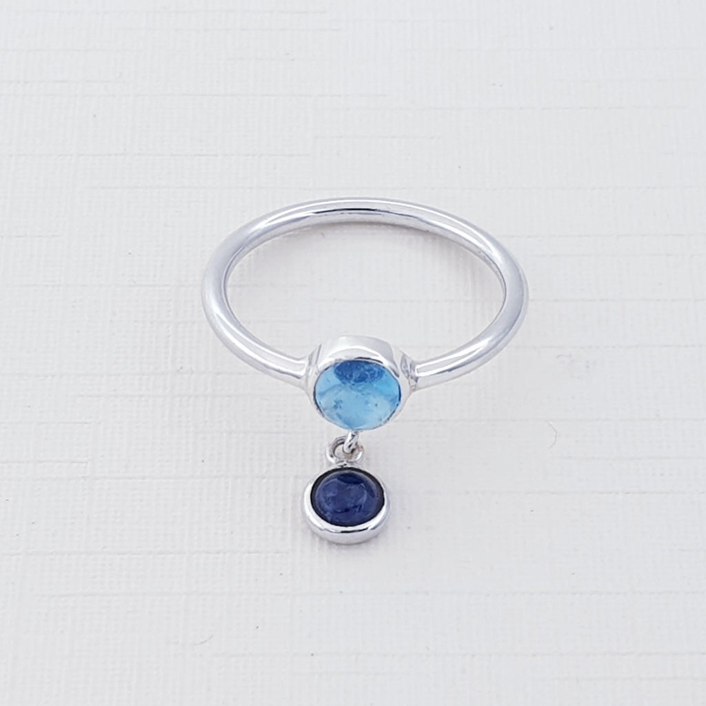 Blue Topaz and Iolite Astoria Ring