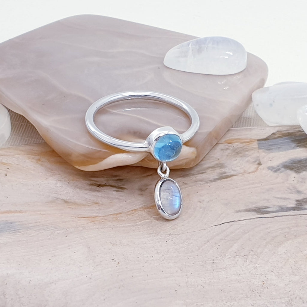 Blue Topaz and Moonstone Astoria Ring
