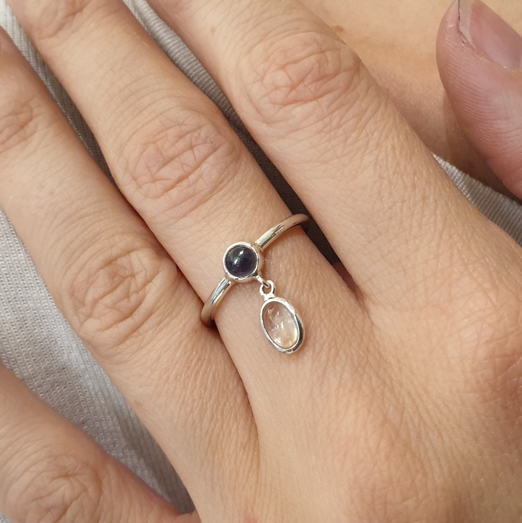 Iolite and Moonstone Astoria Ring