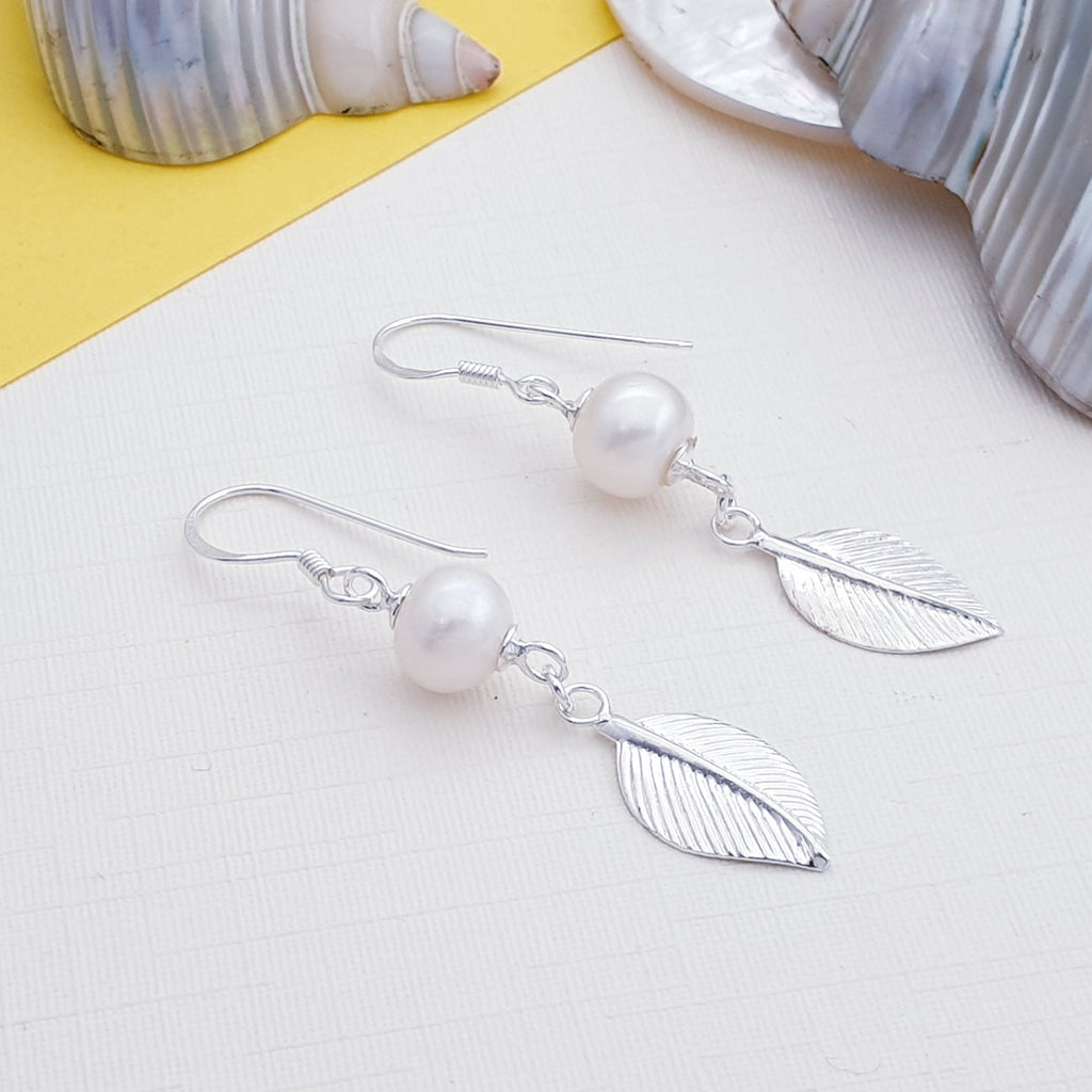 Pearl Large Leaf Earrings