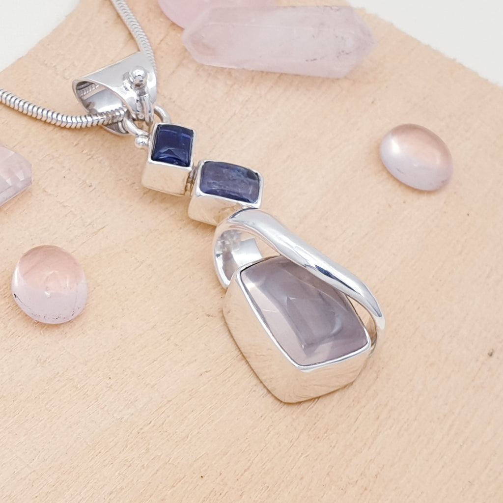 One-off Rose Quartz and Iolite Pendant