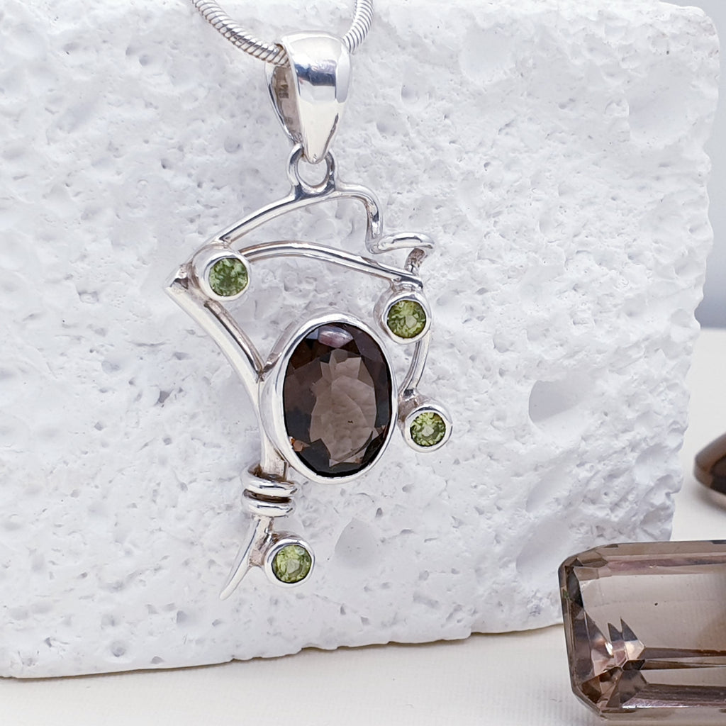 Smoky Quartz and Tourmaline Pendant