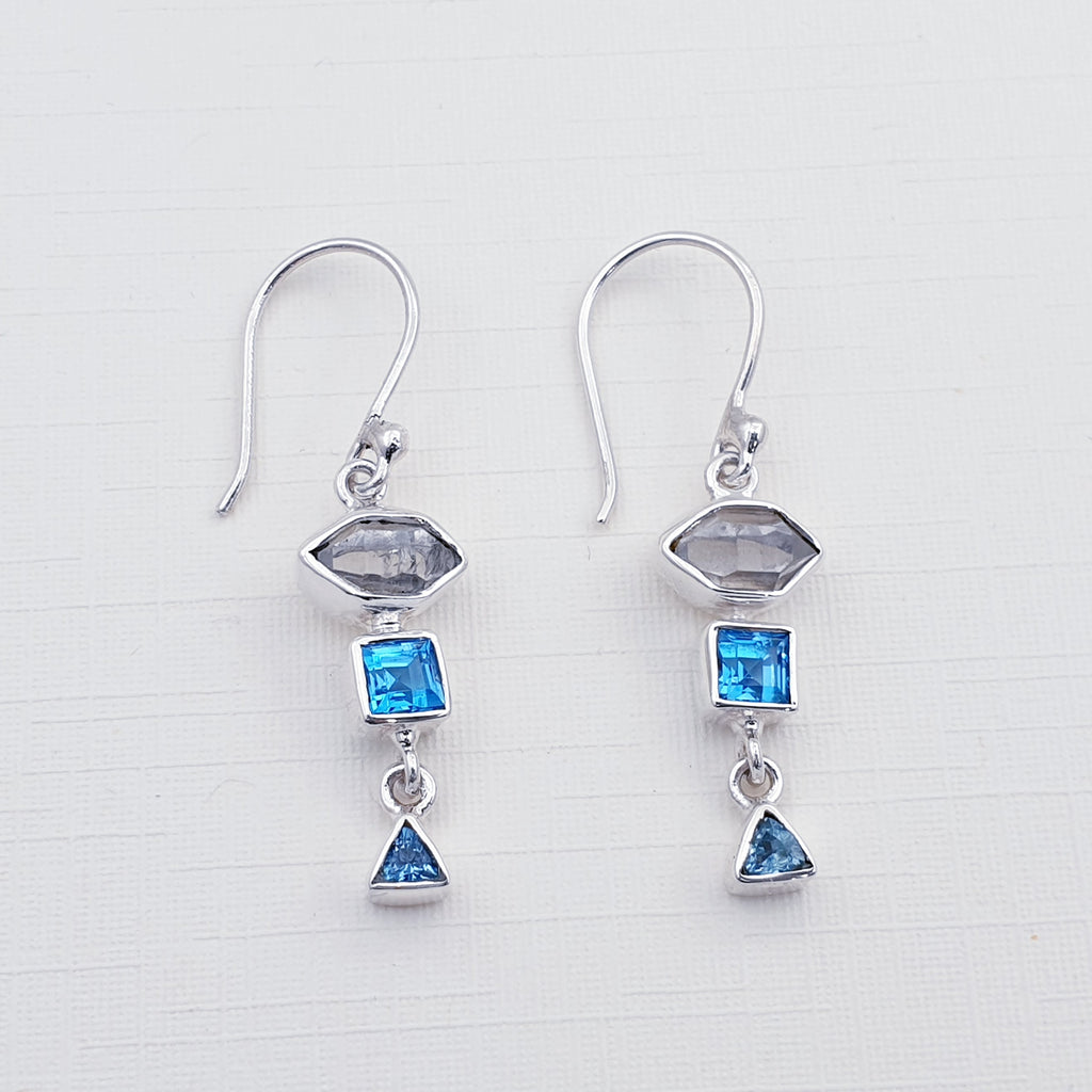 Herkimer Diamond and Blue Topaz Multi Shape Earrings