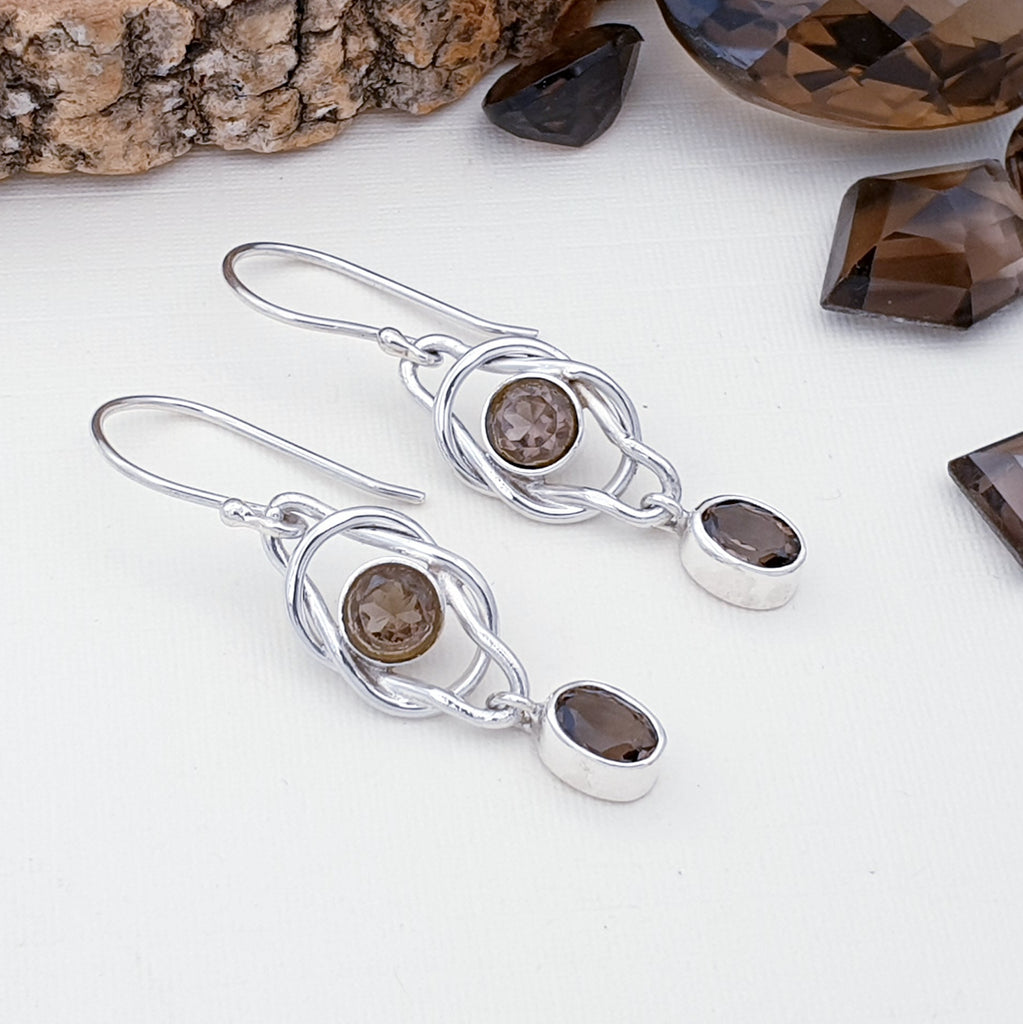 Smoky Quartz Knot Earrings