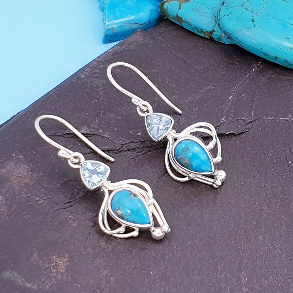Turquoise and Blue Topaz Achelois Earrings