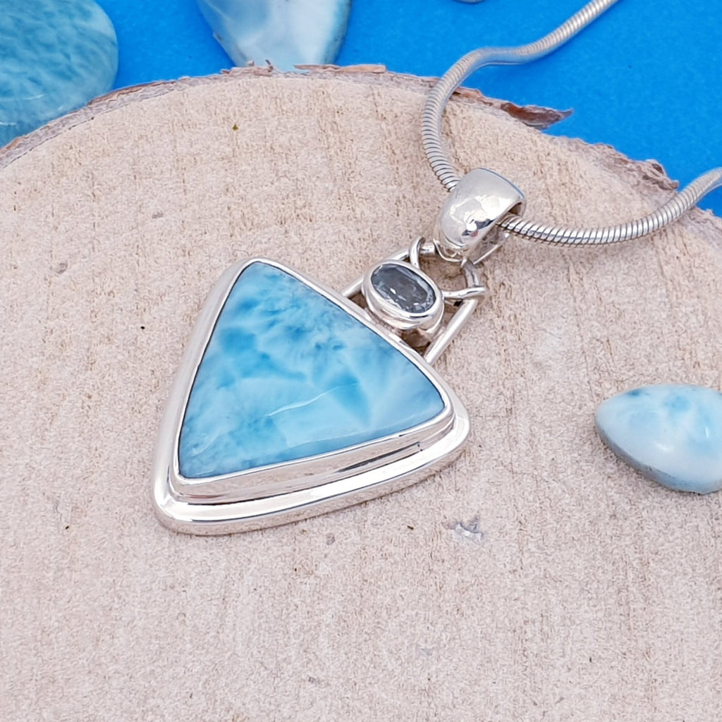 One-off Larimar and Blue Topaz Lyudmila Pendant