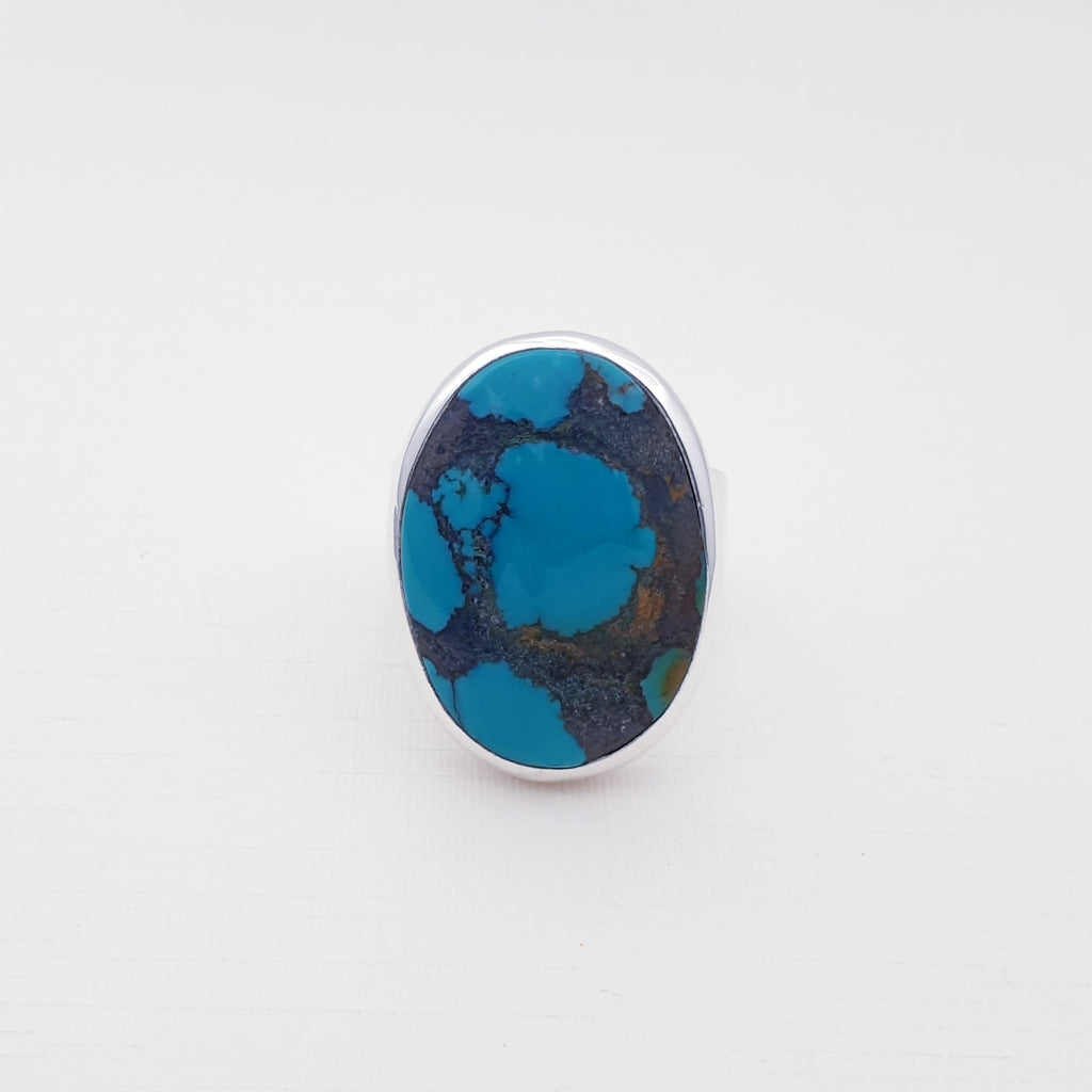 Turquoise Simple Oval Ring - Size R