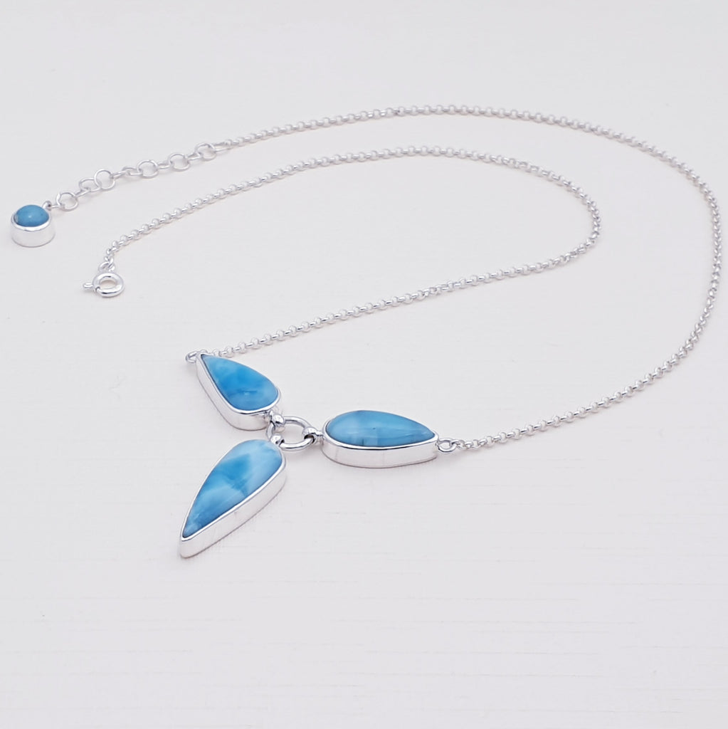 One-off Larimar Three Stone Necklace