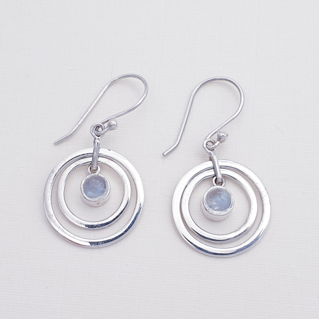 Moonstone Circles Earrings