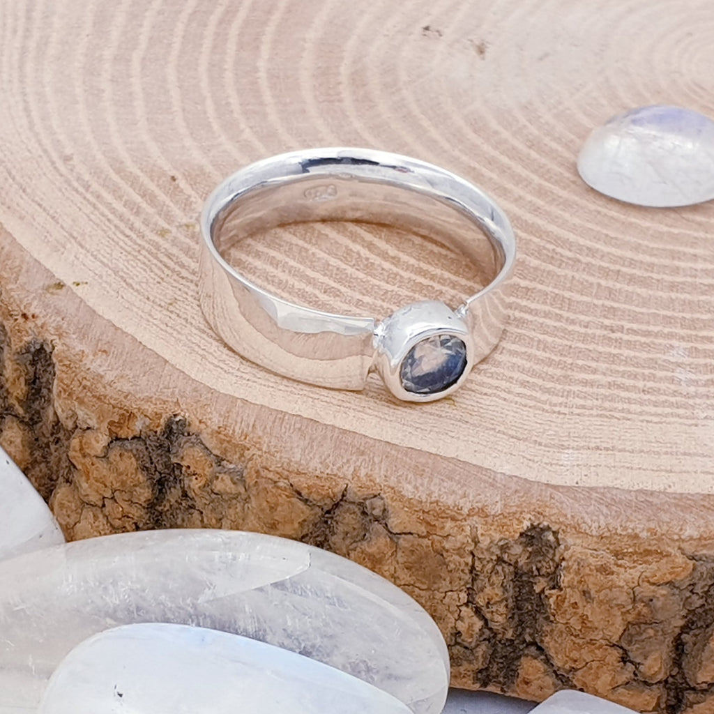 Moonstone Simple Flat Band Ring