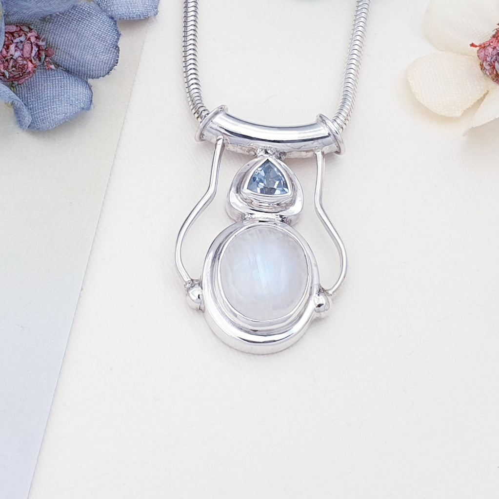 Moonstone and Blue Topaz Tiamat Pendant