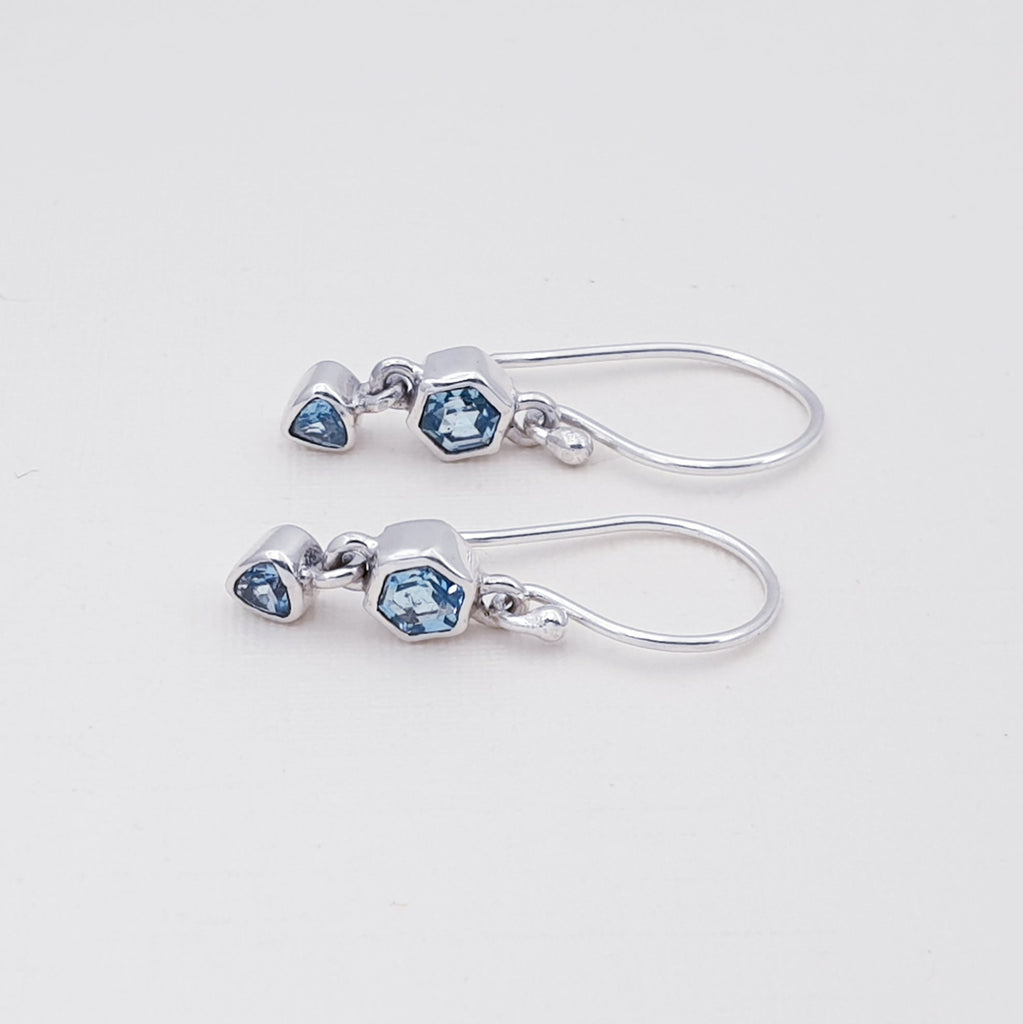 Blue Topaz Double Shape Earrings