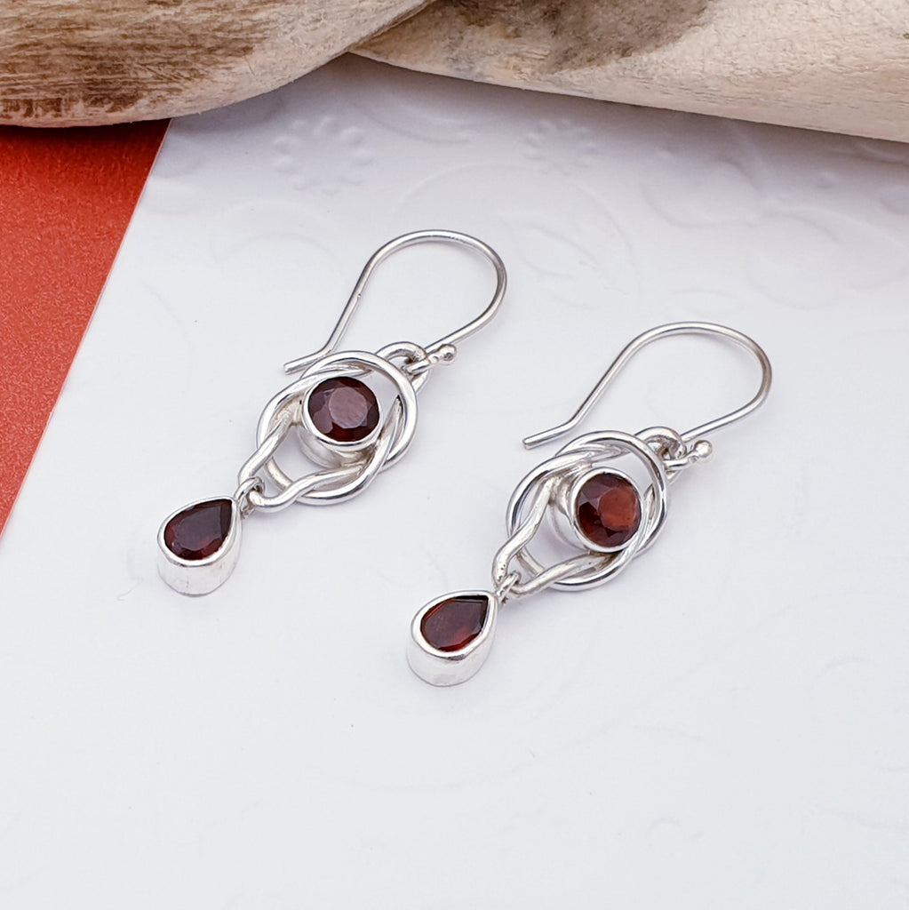 Garnet Knot Earrings