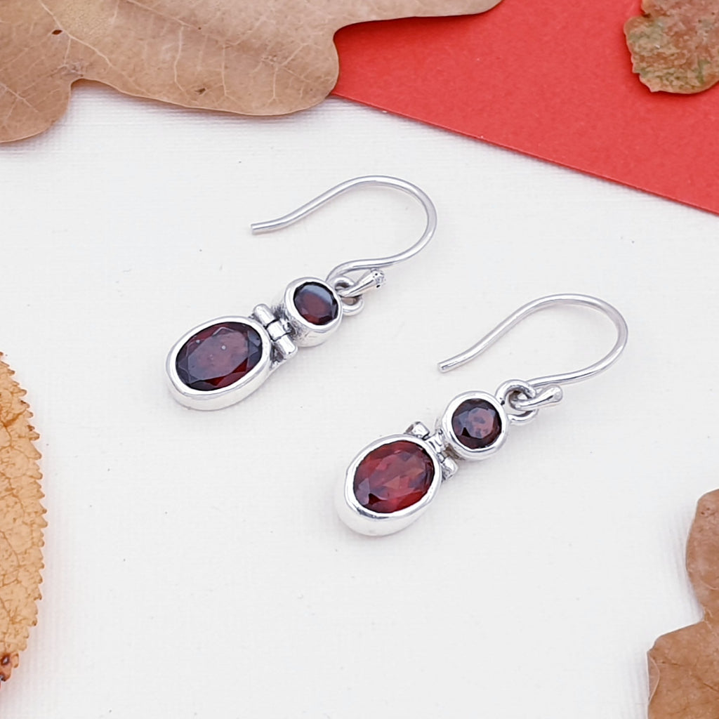 Garnet Dual Stone Earrings