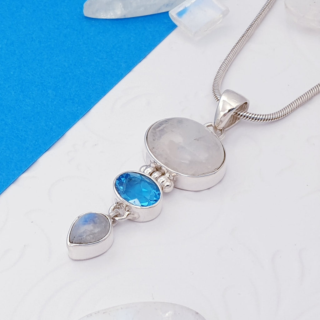 Moonstone and Swiss Blue Topaz Arwen Pendant