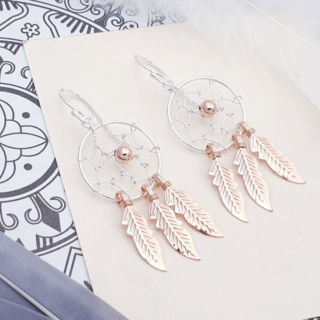 Rose Gold Plated Silver Dream Catcher Earrings - Medium