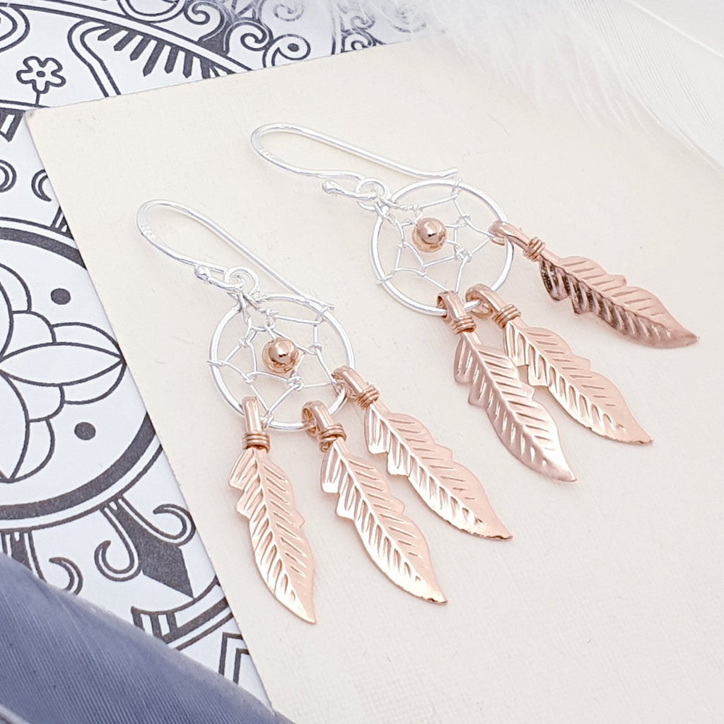 Rose Gold Plated Silver Dream Catcher Earrings - Small