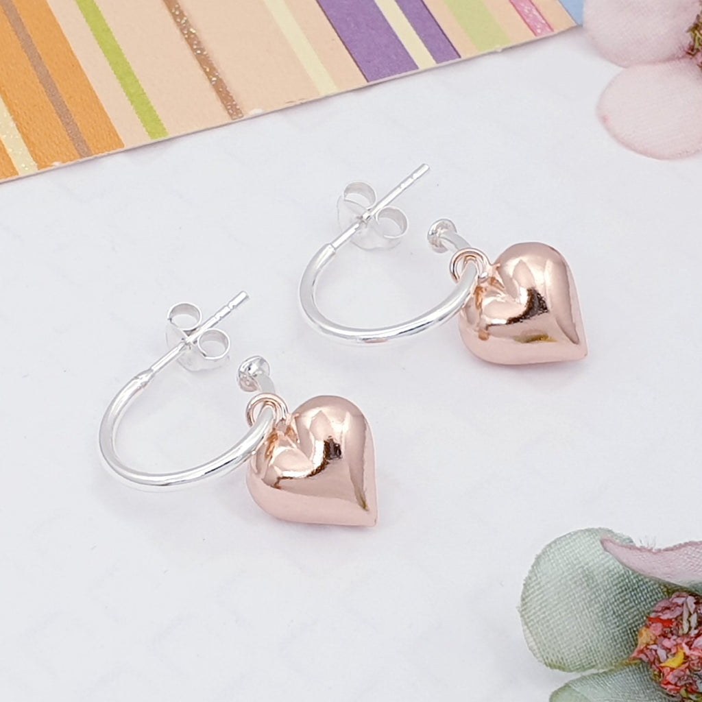 Rose Gold Plated Silver Heart Earrings