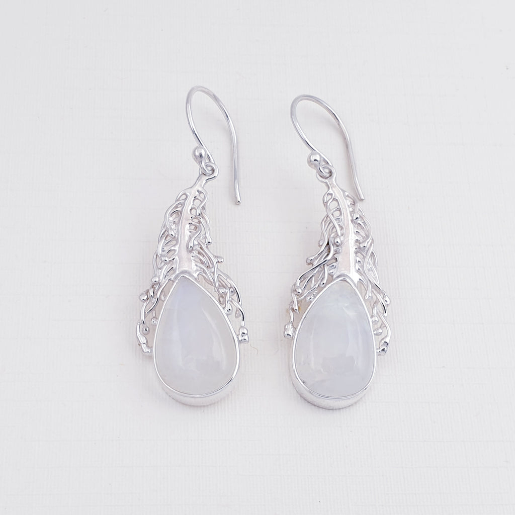 One-off Moonstone Plume Earrings