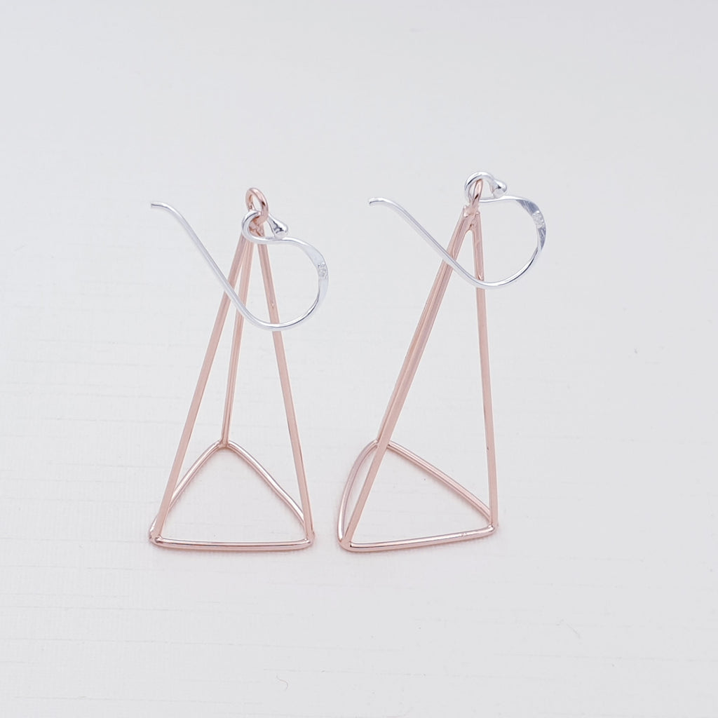 Rose Gold Plated Silver Prism Earrings