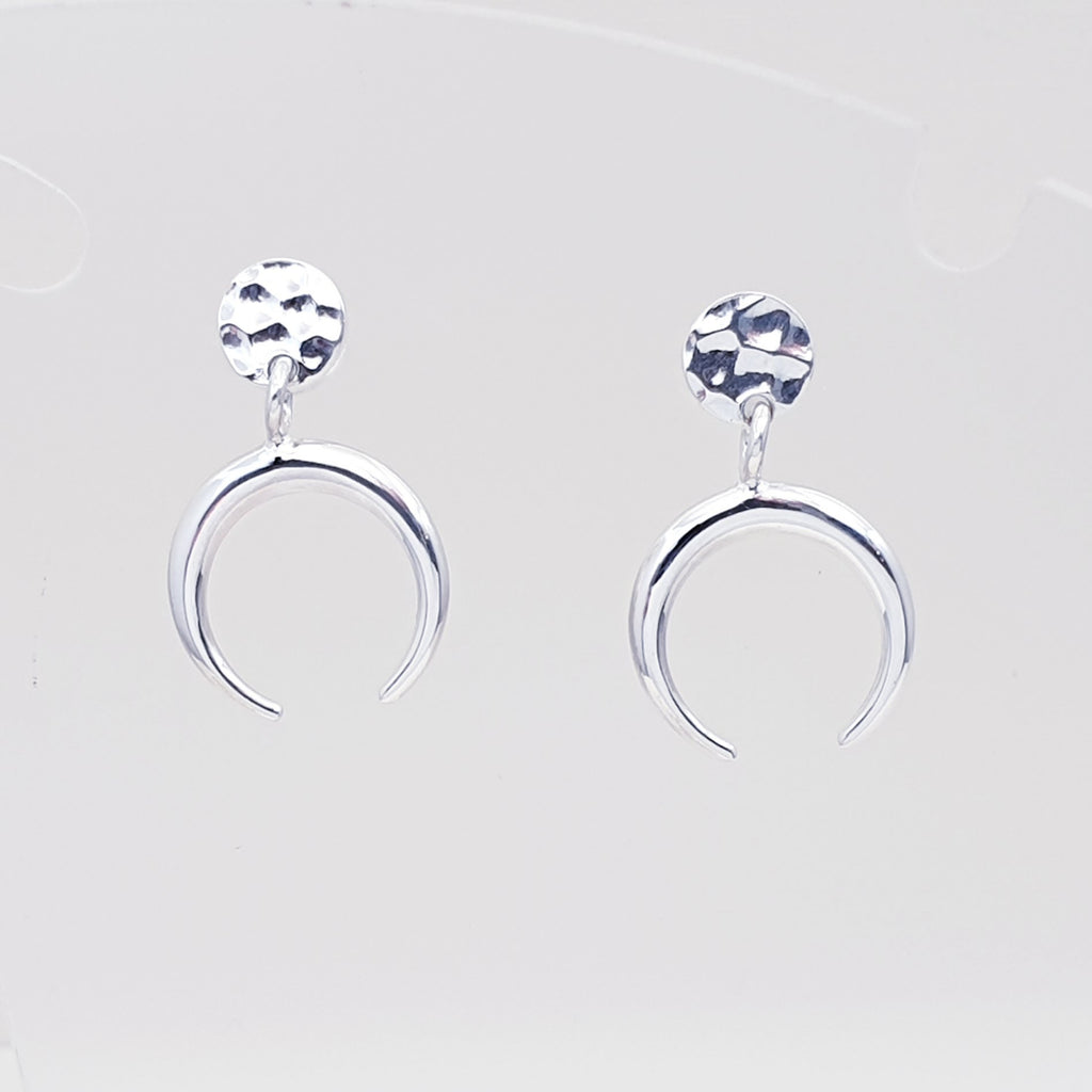 Silver Inverted Crescent Stud Earrings