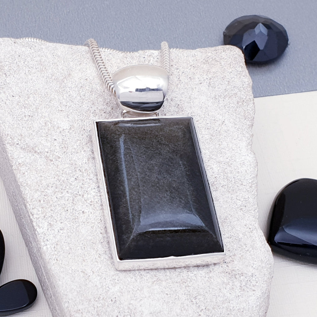 Gold Sheen Obsidian Rectangle Pendant