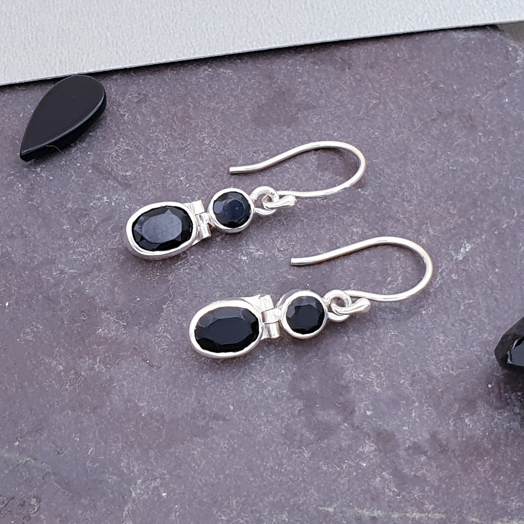 Onyx Dual Stone Earrings