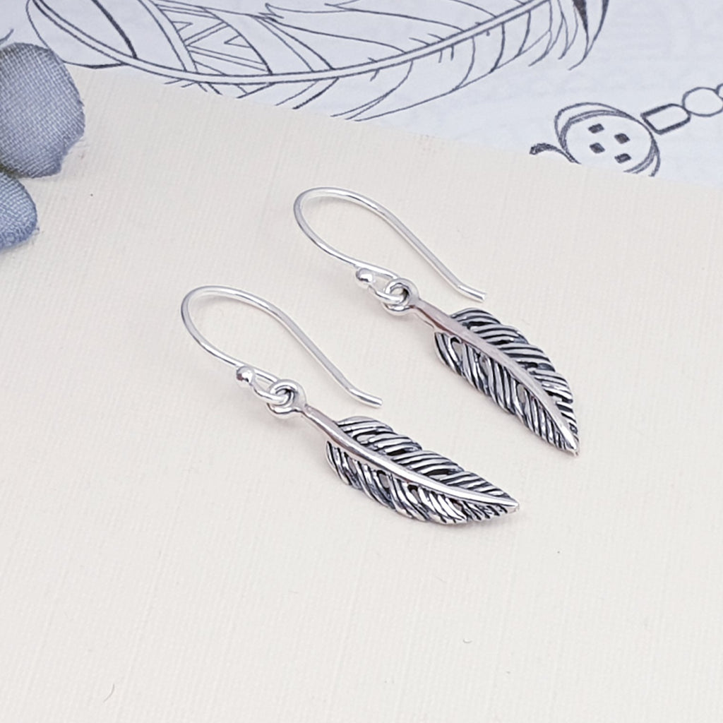 Silver Small Feather Earrings