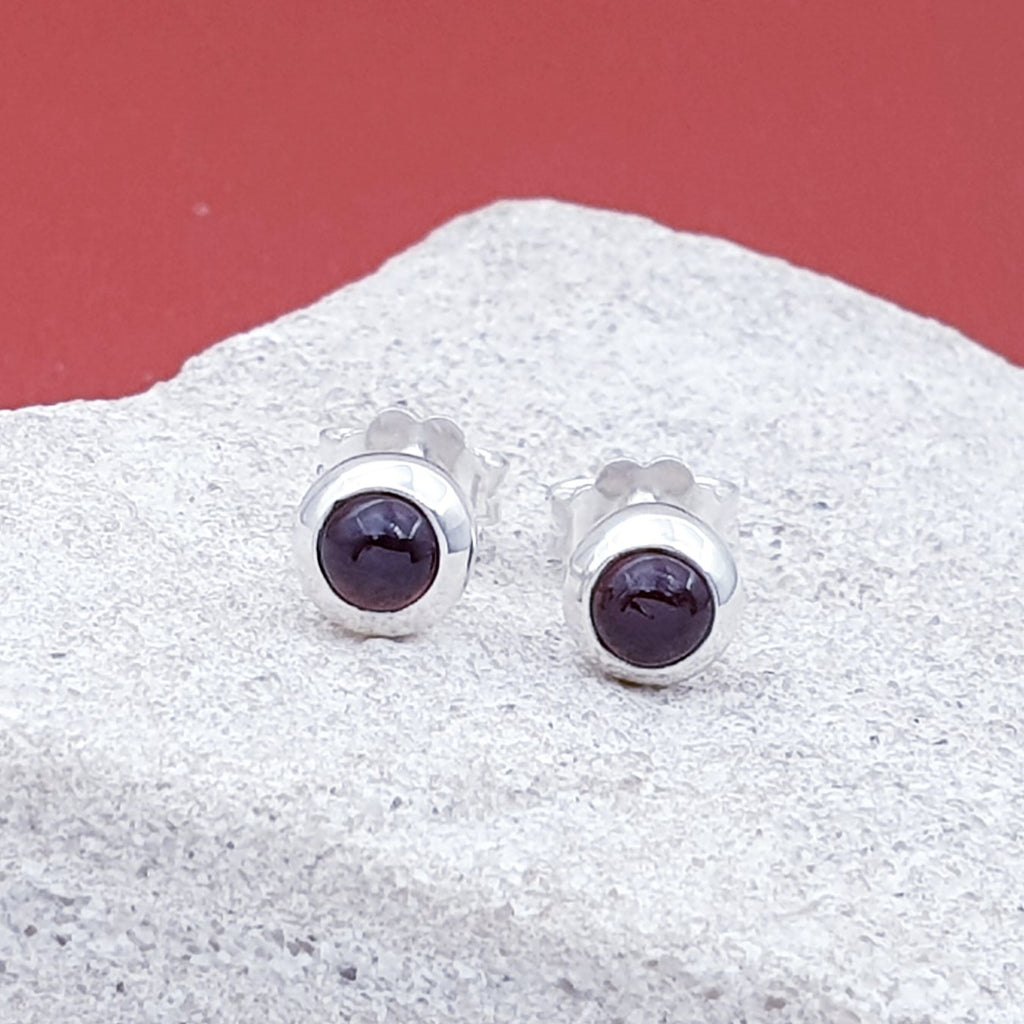 Garnet Small Round Stud Earrings